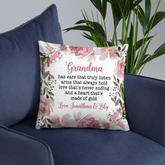 Gift For Grandma, Personalized Grandma Throw Pillow, Christmas Gift, Grandma Presents,From Grandkids, Grandmas Has Ears That Truly Listen