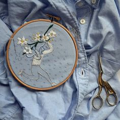 #SpontanElderflower #handembroidery #embroidery #shirt #blue #beer #craft #mikkeller