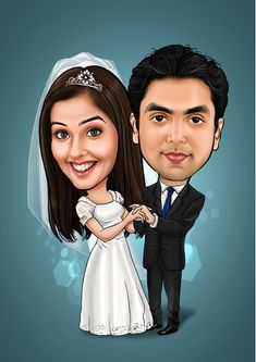 Wedding caricature for the Cute Couple - JUDE RAO - Wedding caricature for the Cute Couple Order your favorite caricature through online using gifterman .Wedding caricature is our prime product - Funny Wedding Cards, Wedding Humor, Wedding Gifts, Caricature Artist, Caricature Drawing, Wedding Couples, Cute Couples, Wedding Gift Inspiration, Wedding Couple Cartoon