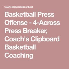 Basketball Press Offense - 4-Across Press Breaker, Coach's Clipboard Basketball Coaching