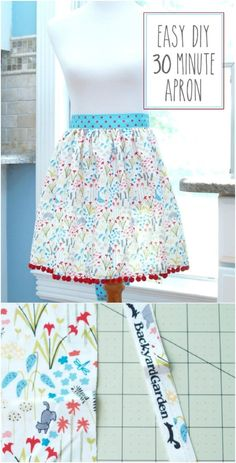 20 diy aprons with free patterns that will keep you fashionable Half Apron Patterns, Apron Pattern Free, Easy Patterns, Diy Clothes Storage, Diy Clothes Design, Diy Clothes Videos, Clothes Crafts, First Sewing Projects, Diy Clothes Refashion