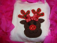 Girly Reindeer Shirt! Find me on facebook at The Ruffled Rose Bowtique!