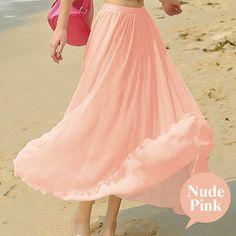 Chiffon Fashion Beach Maxi Skirt High Waist