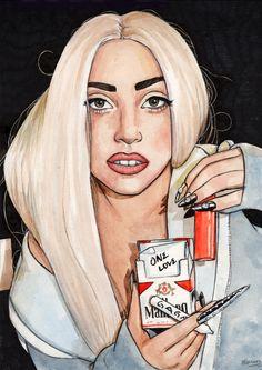 Lady Gaga fanart by Helen Green Celebrity Drawings, Celebrity Caricatures, Lady Gaga Artpop, Helen Green, Lady Gaga Pictures, Makeup Drawing, Cartoon Painting, Dope Art, Little Monsters