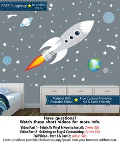 Rocket Wall Stickers Space Wall Stickers Kids Rocket Decal