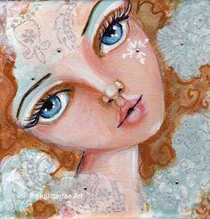 Fantasy figure, Holiday art, Home Decor, Winter Art,Snowflake, Original painting