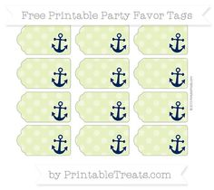 Free Pastel Lime Green Dotted Pattern Nautical Party Favor Tags