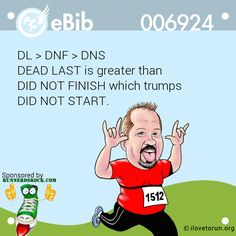 DL > DNF > DNS DEAD LAST is greater than DID NOT FINISH which trumps DID NOT START.