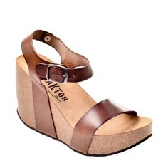 Sandales compensées femme Plakton I-Kiss Vaquetilla Leno, en cuir végétal  marron, talon 90b1f6062935