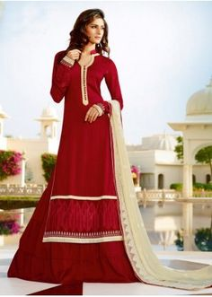 Ethnic Wear Red Pure Georgette Palazzo Suit  - 13856