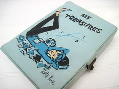 Vintage treasure box, date line, 1950's,1960's teen girl , journal box, retro, mid century. $13.35, via Etsy.