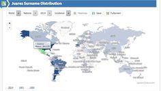 Un mapa para buscar cuántas personas tienen tu apellido y dónde viven
