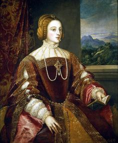Empress Isabel of Portugal  1548,  Vecellio di Gregorio Tiziano  This posthumous portrait of Empress Isabel (1503-1539), the wife of Carlos V (1500-1558), was painted by Titian in Augsburg. It was commissioned by the Emperor when Isabel died and is based on an earlier portrait —by an unknown painter— that was destroyed by a fire at the El Prado Palace in 1604.