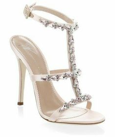 alien satin open toe sandals by Giuseppe Zanotti. Satin sandals embellished with stones. Leather lining and sole. T Strap Sandals, Ankle Strap Heels, Shoes Sandals, Open Toe Shoes, Open Toe Sandals, Stilettos, Sergio Rossi Shoes, Giuseppe Zanotti Shoes, Designer Shoes