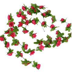 Ayygift 12pcs Artificial Hanging Rose Rattan Fake Vine Leaves Home Garden Wedding Decoration Rose red * Want to know more, click on the image.