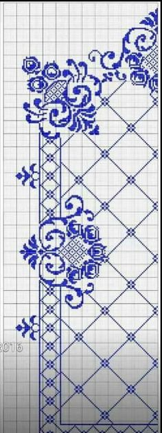 This post was discovered by Ay Cross Stitch Borders, Cross Stitch Flowers, Cross Stitch Designs, Cross Stitching, Cross Stitch Embroidery, Cross Stitch Patterns, Mantel Azul, Arabesque Pattern, Vintage Cushions