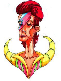 Ziggy Stardust David Bowie Bust by bear-shaped-ham