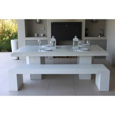 Legend 10 seat Table & Bench from Patio Life Table Bench, Dining Table, Garden Design, House Design, Outdoor Areas, Fireplaces, Concrete, Garden Ideas, Landscaping