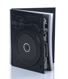Turntable Black Notebook - Unique Vintage - Cocktail, Pinup, Holiday & Prom Dresses.