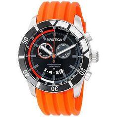 Nautica Men's Orange Chronograph Sport Watch Rubber Strap Black Dial N17586G New