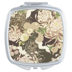 Beautiful Vintage brown and beige flowers and birds Cranes Compact Mirror by #PLdesign #VintageFlowers