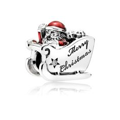 PANDORA | Sleighing Santa, Translucent Red Enamel- with maybe a simple leather bracelet.   a Christmas bracelet