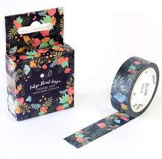 """""""Blooming at Twilight"""" Floral Print on Dark Background Washi Tape"""