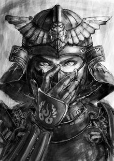 ▷ 1001 coole und effektvolle Samurai Tattoo Ideen fighter tattoo template, woman, black and white dr Kunst Tattoos, Bild Tattoos, Samurai Artwork, Samurai Drawing, Art Japonais, Asian Art, Japanese Art, Character Art, Fantasy Art