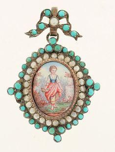 Vintage Sterling Silver Turquoise Pearl Hand Painted Miniature Locket Pendant | eBay