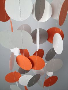 Orange, Gray, White 12 ft Circle Paper Garland- Party Decorations, Birthday, Wedding, Bridal Shower, Baby Shower