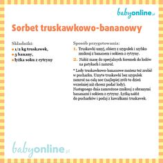 Sorbet truskawkowo-bananowy Sorbet, Vogue Kids, Cooking With Kids, Wellness, Fett, Baby Food Recipes, Pregnancy, Baby Boy, Songs
