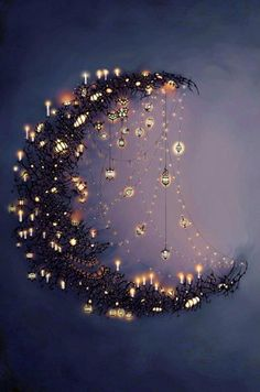 Moon and the stars.want to make some form of a crescent moon with sparkling~dangling stars. Moon Art, Moon Child, Stars And Moon, Sun Moon, Dark Moon, Fairy Lights, Belle Photo, Faeries, Art Photography