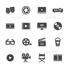 Cinema Icons — Vector EPS #movie #director • Available here → https://graphicriver.net/item/cinema-icons/13872747?ref=pxcr
