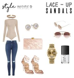 """Sandal Season Slay (The Three S's)"" by porsha-mercedes ❤ liked on Polyvore featuring Balmain, Topshop, Dsquared2, Edie Parker, Marli, Rolex, NARS Cosmetics, Fendi, contestentry and laceupsandals"