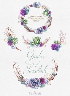 Wedding Invitation. Stylish Watercolor Succulents by ReachDreams