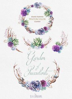 Wedding Invitation. Stylish Watercolor Succulents by ReachDreams