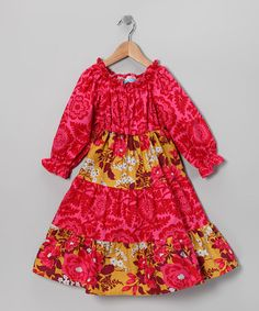 Take a look at this Fuchsia & Mustard Long-Sleeve Lucy Dress - Toddler & Girls by Blue Juniper on #zulily today!
