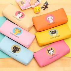 1 Pc/Lot Cute Lovely Colorfu Cartoon Cat-Family PU Leather Pencil Bag & Pencil Case for School Stationery & Office Supply Zipper Pencil Case, Cute Pencil Case, Office And School Supplies, School Office, Led Pencils, School Stationery, Korean Stationery, Cute Pens, Leather