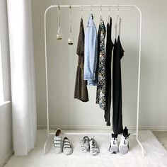 Beauty room, Ikea clothing rack, beauty room inspiration, succulents, hanging succulents, white curtains, white fur rug, sneakers, beauty room clothing rack, cheap clothing rack
