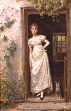 George Goodwin Kilburne (1839 – 1924, English) - 'The Cottage Door'