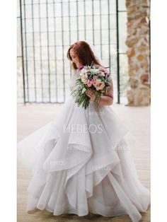 4bb447fa652 Ball Gown Sleeveless Scoop Beading Sweep Brush Train Organza Wedding Dresses  at Hebeos