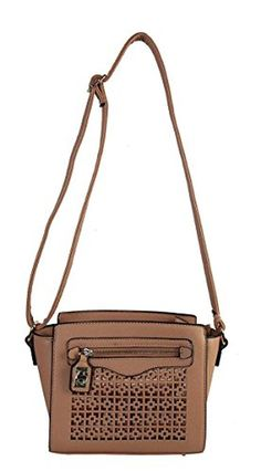 Rimen & Co. Saffiano PU Leather Front Zippered Pocket Accented with Turn Lock Closure Classical Laser Cut Design Womens Purse Cross Body Handbag RX-2268 Tan - Brought to you by Avarsha.com