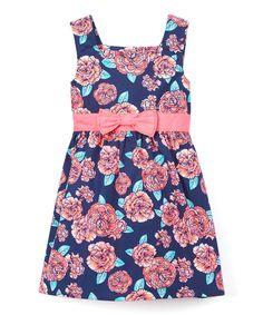 Navy & Pink Rose A-Line Dress - Infant Toddler & Girls