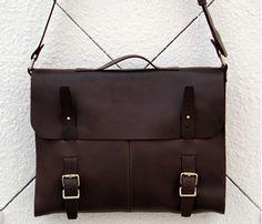 """Men's Handmade Vintage Leather Briefcase / Leather Satchel / 15"""" MacBook 15"""" Laptop Bag -  / Leather Messenger Bag m035"""