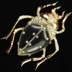 Corocraft Sterling Gold and Spangles Jelly Belly Beetle Pin