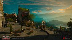 ArtStation - The Witcher Wild Hunt - Blood and Wine, Kacper Niepokólczycki Witcher 3 Wild Hunt, The Witcher 3, City Layout, Environmental Art, Medieval Fantasy, Cities, Northern Lights, Blood, Wine