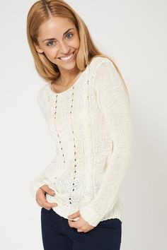 747be5ccc5d Lovely Crochet Cable Knit Cream Jumper Ex-Branded