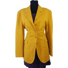 Items similar to Vintage Women s Kenzo Blazer size 12 42 Yellow Orange  Linen Business Formal Casual Jacket light 80 s B39 on Etsy 90c30f6d74e