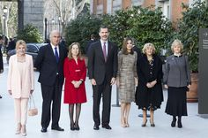 King Felipe VI of Spain (C) and Queen Letizia of Spain (3R) attend 'Obras Maestras de Budapest. Del Renacimiento a las Vanguardias' exhibition at the Thyssen-Bornemisza Museum on February 17, 2017 in Madrid, Spain.
