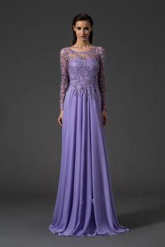 lilac dresses for women | New Fashion Lilac Applique Long Sleeve Backless Beautiful Long Chiffon ...